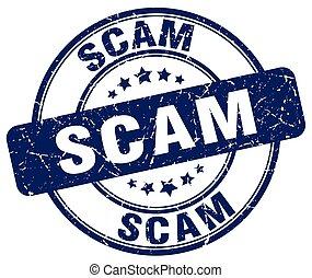 blauwe , scam, postzegel, ouderwetse , rubber, grunge, ronde