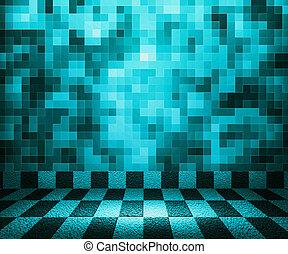 blauwe , schaakbord, mozaïek, kamer, achtergrond