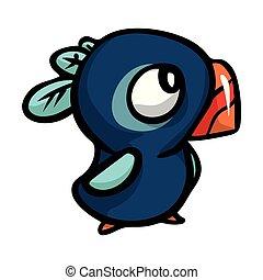 blauwe , schattig, anders, gekke , emoties, beak., vogel, rood