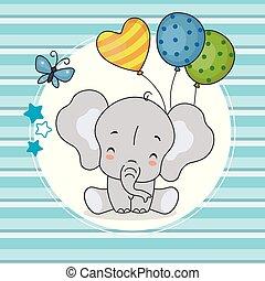 blauwe , schattig, ballons, achtergrond, elefant