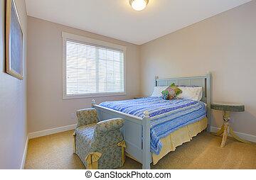 blauwe , schattig, eenvoudig, bed, queeste, slaapkamer