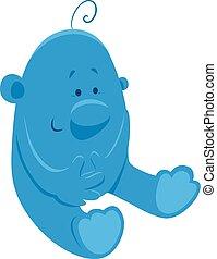 blauwe , schattig, karakter, spotprent, fantasie