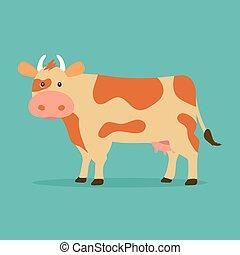 blauwe , schattig, koe, plat, vrijstaand, illustratie, spotprent, achtergrond., vector, ontwerp, style.