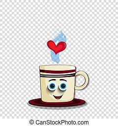 blauwe , schattig, koffie, karakter, eyes, mok, spotprent