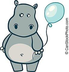 blauwe , schattig, nijlpaard, balloon, grijze , illustratie, vector, achtergrond, witte