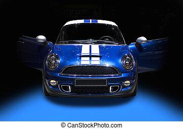 blauwe , schattig, sportende, auto, vrijstaand