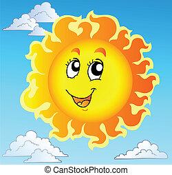 blauwe , schattig, vrolijke , hemel, zon