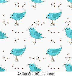blauwe , schattig, weinig; niet zo(veel), pattern., seamless, vogels