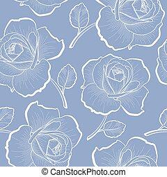 blauwe , schets, model, seamless, rozen, witte
