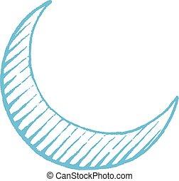 blauwe , schets, vectorized, illustratie, maan, halvemaan, inkt