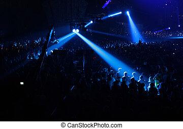 blauwe , schijnwerper, op, concert