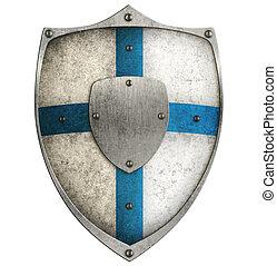 blauwe , schild, metaal, vrijstaand, kruis, witte , oud