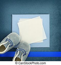 blauwe , schoentjes, achtergrond, leeg, baby, kaart
