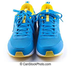 blauwe , schoentjes, achtergrond, paar, witte , sportende