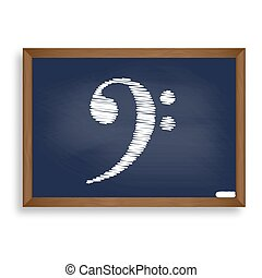blauwe , school, kubus, illustration., wi, meldingsbord, krijten plank, witte , pictogram