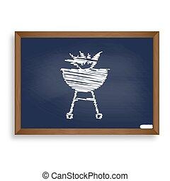 blauwe , school, vuur, teken., krijten plank, w, barbecue, witte , pictogram