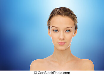 blauwe , schouders, vrouw, op, jonge, gezicht, blote