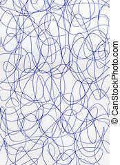 blauwe , scribbles, abstract, pattern., pen, papier, witte