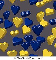 blauwe , seamless, gele, illustratie, model, hartjes, 3d