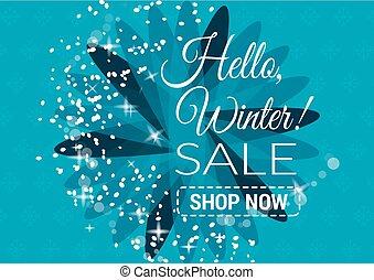 blauwe , seizoenen, illustration., kleur, tekst, snowflakes, verkoop, illustratie, lichten, vector, achtergrond, promotion.., winter
