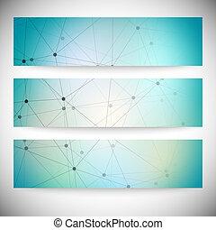 blauwe , set, abstract, illustratie, banners., vector, achtergrond, horizontaal