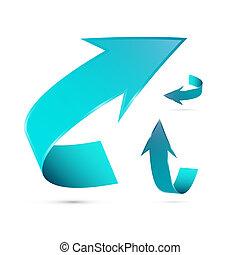 blauwe , set, abstract, richtingwijzer, 3d, pictogram