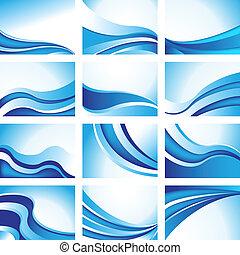 blauwe , set, achtergrond, golf