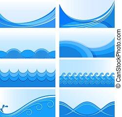 blauwe , set, achtergronden, vector, golf