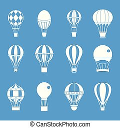 blauwe , set, ballon, lucht, vector, pictogram
