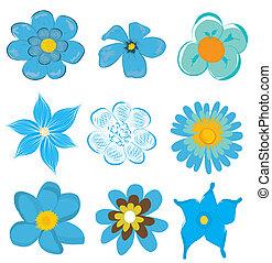 blauwe , set, bloem, vector, grafiek
