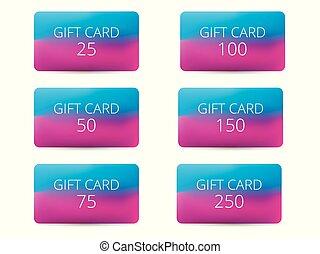 blauwe , set, cadeau, pink., helling, kaarten, vector, achtergrond, illustraties