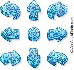 blauwe , set, doodle, pijl, vector, sierlijk