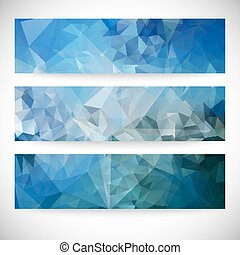 blauwe , set, driehoek, abstract, illustratie, vector, ontwerp achtergronden