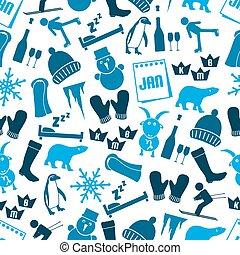 blauwe , set, eps10, iconen, eenvoudig, januari, seamless, maand, thema, model