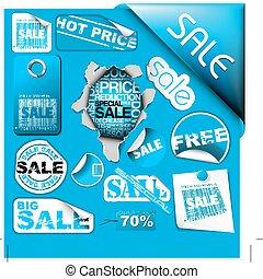 blauwe , ..., set, etiketten, verkoop, kaartjes, postzegels