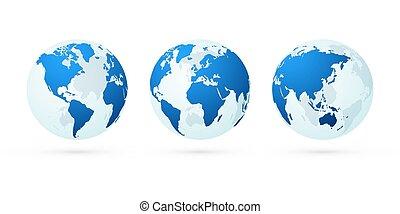 blauwe , set, globe, planeet, landkaarten, wereld, aarde, transparant