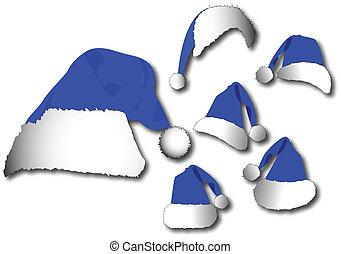 blauwe , set, hoedje, kerstman, vector