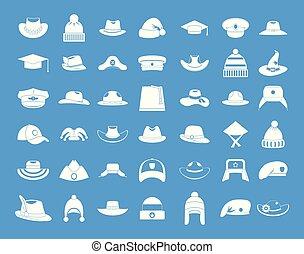 blauwe , set, hoedje, vector, pictogram