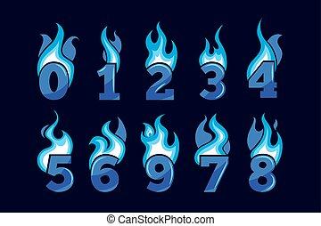 blauwe , set, iconen, het vlammen, vector, getallen, spotprent