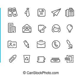 //, blauwe , set, kantoor, zakelijk, &, reeks, lijn, pictogram