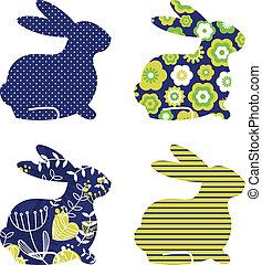 blauwe , set, &, ), lente, abstract, vrijstaand, groene, (, witte , konijntje