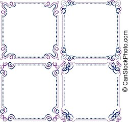 blauwe , set, multilayer, frame, elegant, vector, viooltje