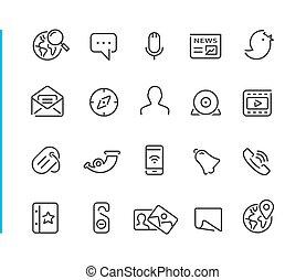 //, blauwe , set, netwerk, reeks, sociaal, lijn, pictogram