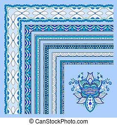 blauwe , set, ouderwetse , frame, illustratie, vector, floral, design.