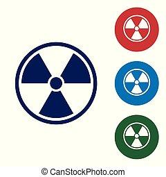 blauwe , set, radioactieve kleur, teken., straling, vrijstaand, gevaar, symbool., achtergrond., buttons., vector, illustratie, vergiftig, witte cirkel, pictogram