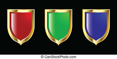 blauwe , set, schild, vector, groen rood
