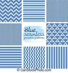blauwe , set, seamless, 1, motieven, geometrisch, witte