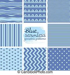 blauwe , set, seamless, motieven, 2, geometrisch, witte