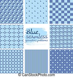 blauwe , set, seamless, motieven, 3, geometrisch, witte