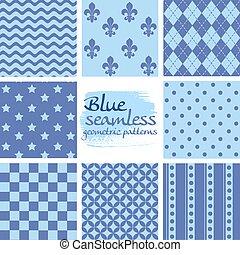 blauwe , set, seamless, motieven, 4, geometrisch, witte